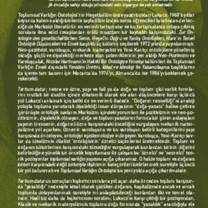Toplumsal Varlığın Ontolojisi - Hegel Marx Emek